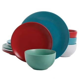 Gibson Panamera 12-Piece Dinnerware Set in 4 Assorted Matte Colors