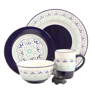 Kamille 16 Piece Stoneware Dinnerware Set, White/Blue