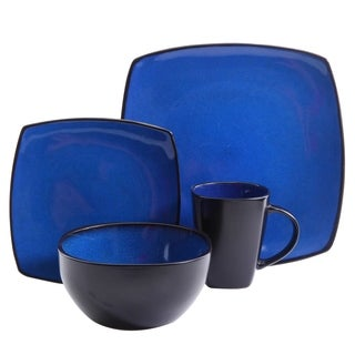 Soho Lounge 16 piece Dinnerware Soft Square Set in Blue