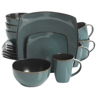 Soho Lounge 16-Piece Soft Square Dinnerware Set in Teal Green
