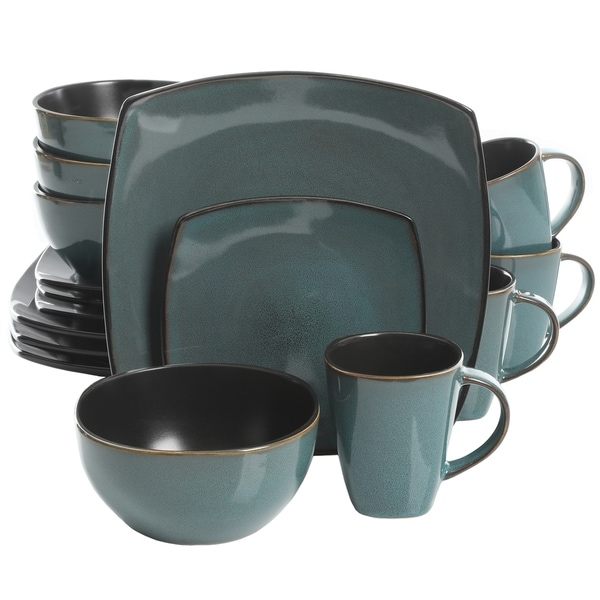 Soho Lounge 16-Piece Soft Square Dinnerware Set in Teal Green  sc 1 st  Overstock.com & Soho Lounge 16-Piece Soft Square Dinnerware Set in Teal Green - Free ...