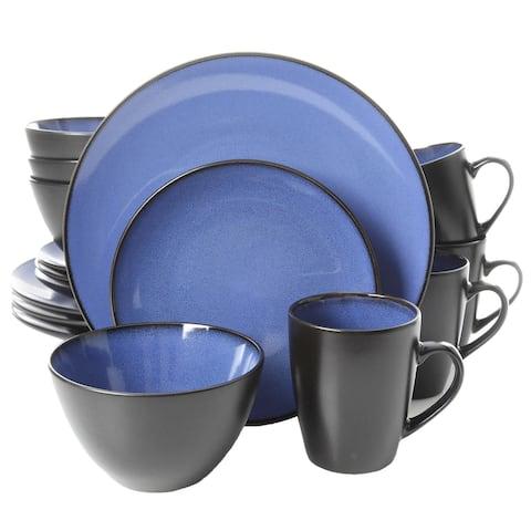 Gibson Soho Lounge Round 16 Piece Dinnerware Set, Blue