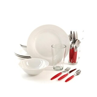 Gibson Home Delightful Dining 24-Piece Dinnerware Set, White/Red