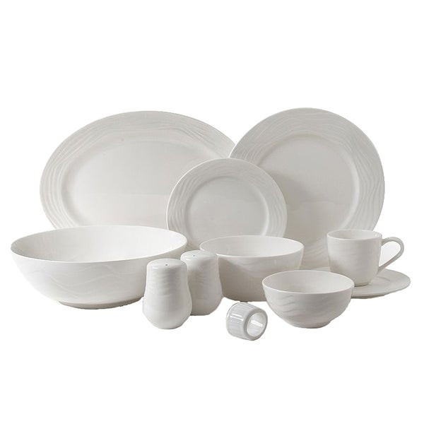 Gibson Home Eventide 46Pc Dinnerware, White