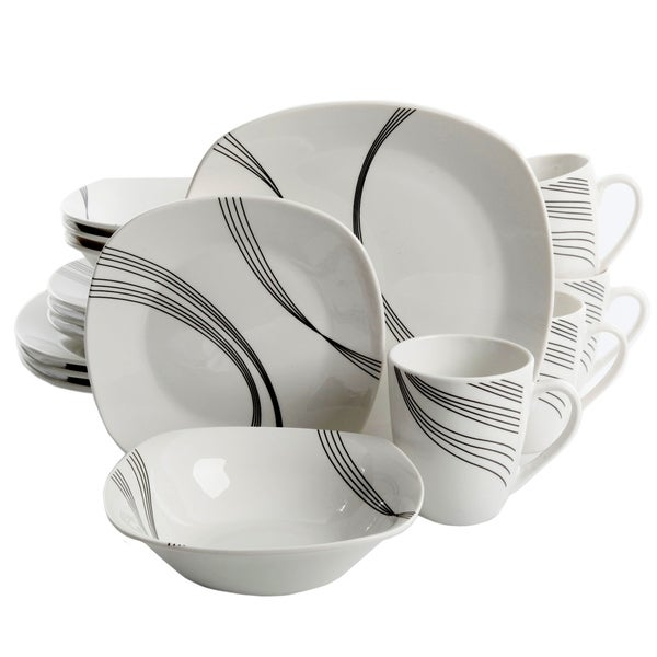 Gibson Curvation 16-Piece Soft Square Dinnerware Set in White  sc 1 st  Overstock & Gibson Curvation 16-Piece Soft Square Dinnerware Set in White - Free ...