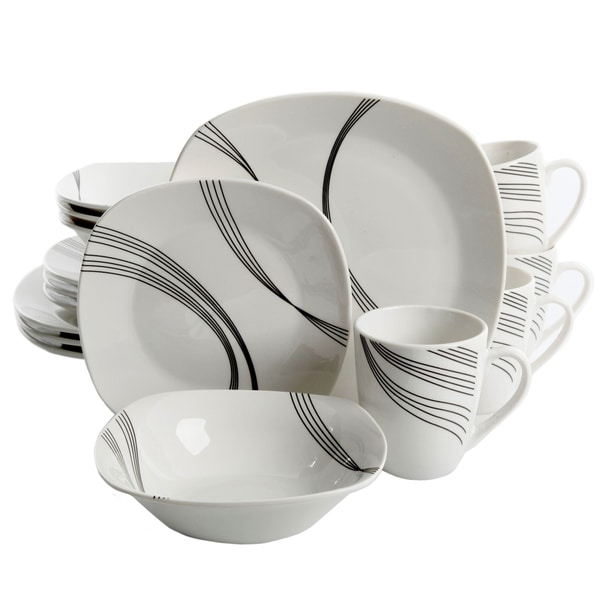 Gibson Curvation 16-Piece Soft Square Dinnerware Set in White  sc 1 st  Overstock.com & Gibson Curvation 16-Piece Soft Square Dinnerware Set in White - Free ...