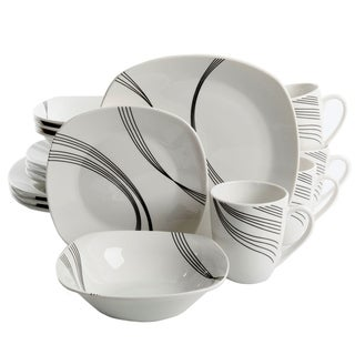 Gibson Curvation 16-Piece Soft Square Dinnerware Set in White