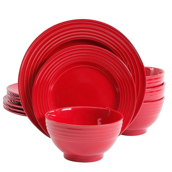 Shop Gibson Plaza Cafe 12-Piece Dinnerware Set in Red - Free ...