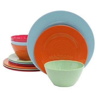 Gibson Brist 12 piece Dinnerware Set in 4 Assorted Colors