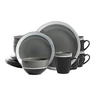 GIbson Color Eclipse 16 Piece Dinnerware Set in Grey