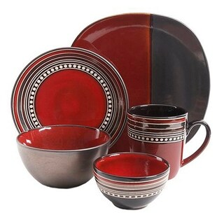 Gibson Ocean View 16 Piece Dinnerware Set, Red
