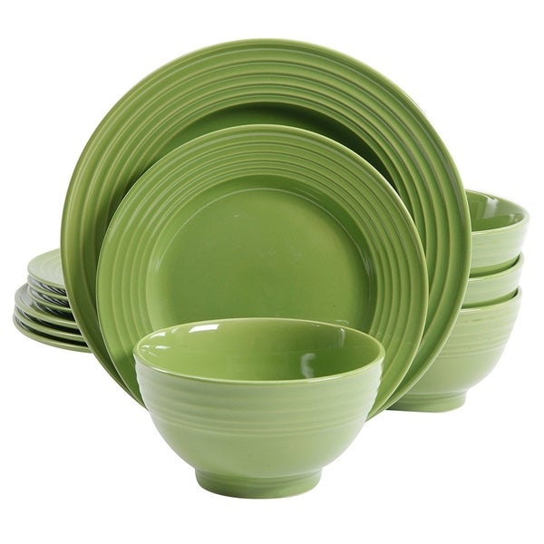Gibson Plaza Cafe 12-Piece Dinnerware Set in Green  sc 1 st  Overstock.com & Gibson Plaza Cafe 12-Piece Dinnerware Set in Green - Free Shipping ...