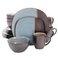 Gibson Volterra 16 piece Soft Square Dinnerware Set in Teal