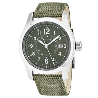 Hamilton Men's H68201963 'Khaki Field' Green Dial Khaki Fabric Strap Swiss Quartz Military Watch