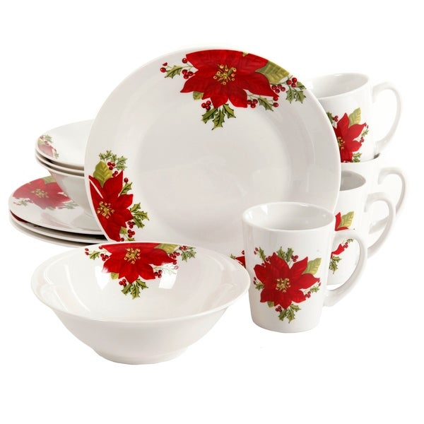 Gibson Noble Poinsettia 12 piece Dinnerware Set  sc 1 st  Overstock & Shop Gibson Noble Poinsettia 12 piece Dinnerware Set - Free Shipping ...