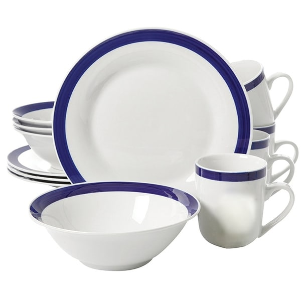 Nantucket Sail 12 piece Dinnerware Set  with Blue Banded