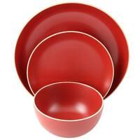 Gibson Home Rockaway 12-Piece Dinnerware Set in Matte Red