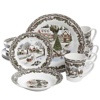 Gibson Home Christmas Toile 16 Piece Dinnerware Set  sc 1 st  Overstock & Stoneware Christmas Dinnerware For Less   Overstock.com