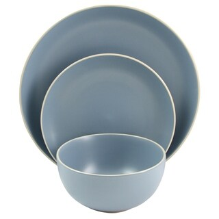 Gibson Home Rockaway 12 Pece Dinnerware in Matte Blue Set