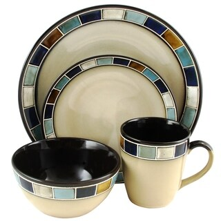 Gibson Elite Casa Estebana 16-Piece Dinnerware set in Blue and Cream