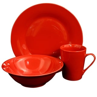 Gibson Home Carlton 12-Piece  Dinnerware Set in Red