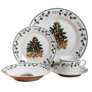 Tree Trimming 20 pc Dinnerware Set Christmas Theme