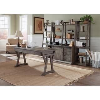 Stone Brook Rustic Saddle-finished 3-piece Jr Executive Complete Desk, Credenza and Hutch Home Office Set|https://ak1.ostkcdn.com/images/products/18107593/P24263920.jpg?impolicy=medium
