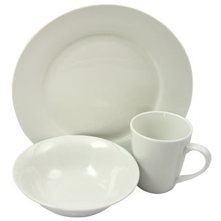 Gibson Home Noble Court Fine Ceramic 12 Piece Dinnerware Set in White