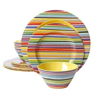 Gibson Studio Californa Color Celebration Decorated 12 piece Round Set  sc 1 st  Overstock & Stripe Dinnerware | Find Great Kitchen u0026 Dining Deals Shopping at ...