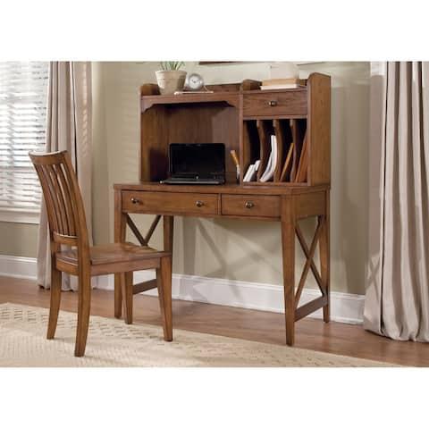 Hearthstone Rustic Oak 2-piece Desk and Hutch