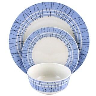 Gibson Home Decorated Classic Blue Fine Ceramic12 Piece Dinnerware Set