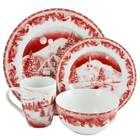 Gibson Elite Winter Cottage 16 piece Dinnerware Decorated Set in Red