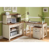 Havenside Home Onemo Antique White and Natural Pine 4-piece Desk