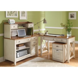 Havenside Home Onemo Antique White And Natural Pine 4 Piece Desk