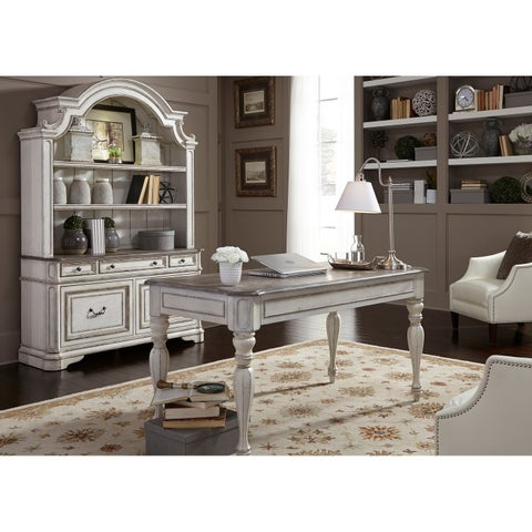 Magnolia Manor Antique White 3-Piece Desk and Hutch Set