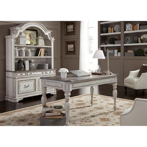 Magnolia Manor Antique White 3-Piece Desk and Hutch Set