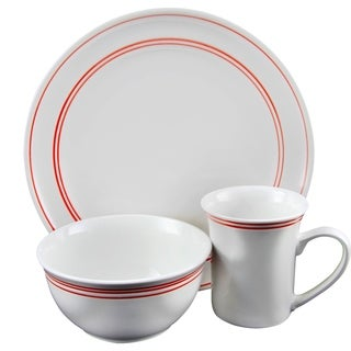 GIbson Home Porto 12 Piece Fine Ceramic Dinnerware Set with Red Banded Ring