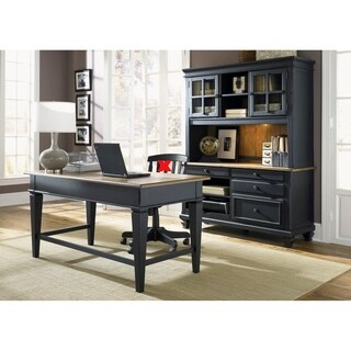 Bungalow II Driftwood and Black 3-piece Jr. Executive Desk and Hutch