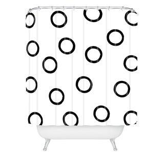 Kelly Haines Monochrome Circles V2 Shower Curtain