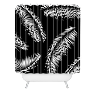Kelly Haines Monochrome Palm Leaves Shower Curtain