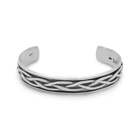 Sterling Silver 8-inch Oxidized Braided Mens 10mm Cuff Bracelet