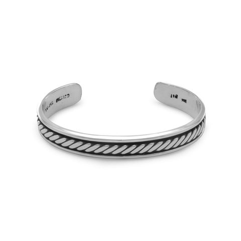 Sterling Silver 8-inch Oxidized Mens 10mm Cuff Bracelet With Rope Design