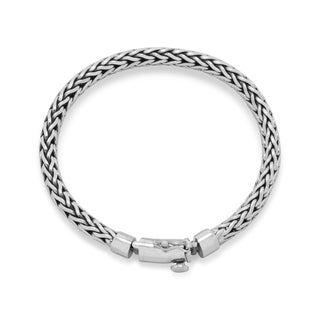 Italian Sterling Silver 8-inch Oxidized Woven Men's Bracelet