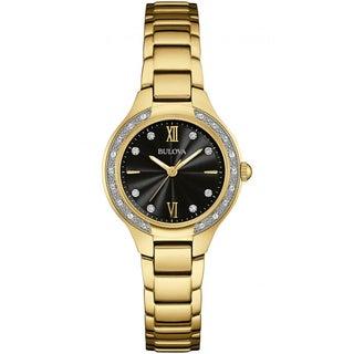 Bulova Womens 98W222 Diamond Gallery Goldtone Stainless Black Dial Bracelet Watch
