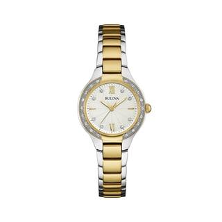 Bulova Womens 98W221 Diamond Gallery Two-tone Stainless Bracelet Watch
