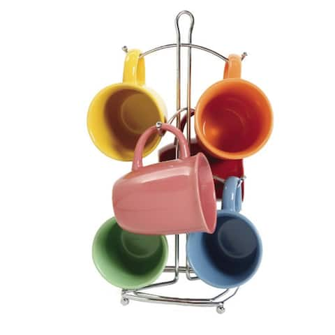 Color Curve 7 pc Mug Set, Assorted (with Metal Rack)