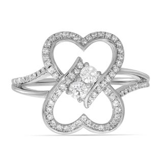 """3/4ct.tw Two Stone Heart to Heart Bond Together Diamond Ring (G-H / SI1-SI2) """"My Best Friend is My True Love®"""" - White G-H"""