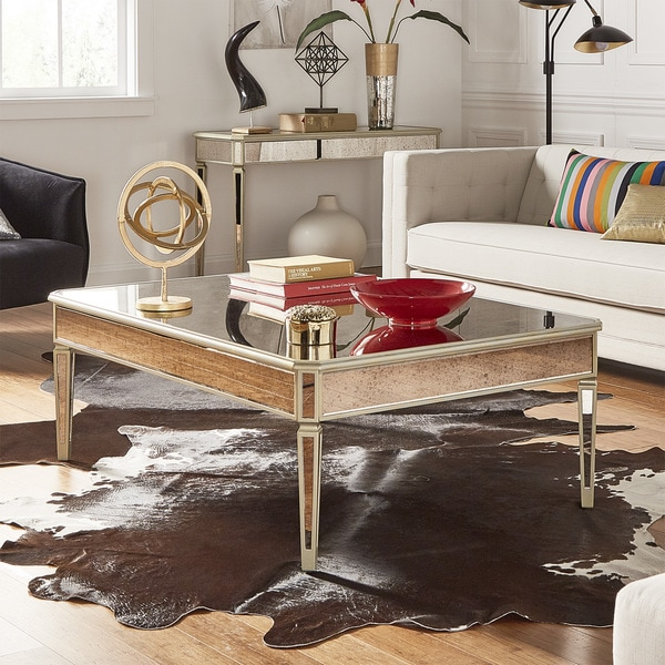 Clara Antique Gold Mirrored Accent Tables By Inspire Q