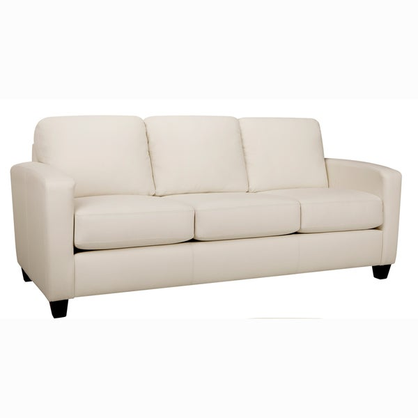 Bryce White Italian Top Grain Leather Sofa On Free Shipping Today 18107866