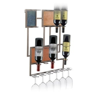 Bronze Finish Metal Wine Rack With Decorative Glass Panels